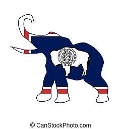 Wyoming Republican Elephant Flag