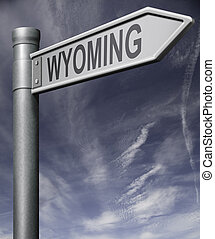 Wyoming road sign with clipping path