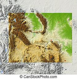 Wyoming, shaded relief map - Wyoming. Shaded relief map,...