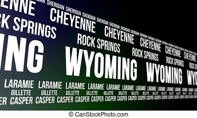 wyoming, staat, major, städte, banner