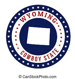 Vintage stamp with text Cowboy State written inside and map of Wyoming, vector illustration