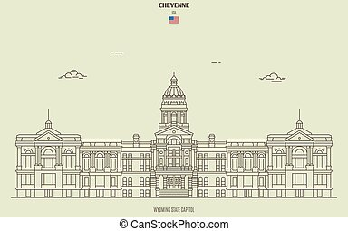 Wyoming State Capitol in Cheyenne, USA. Landmark icon in linear style