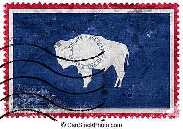 Wyoming State Flag - old postage stamp