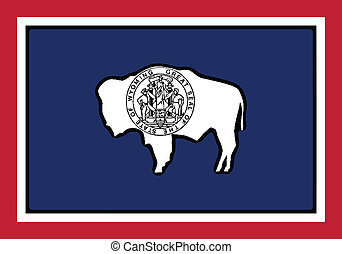 Wyoming State Flag - The USA state of Wyoming state flag