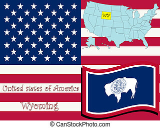 wyoming state illustration, abstract vector art