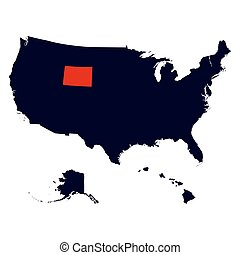 Wyoming State in the United States map