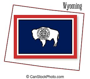 Wyoming State Map and Flag - Outline of the state of Wyoming...