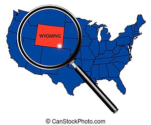 Wyoming state outline set into a map of The United States of America under a magnifying glass