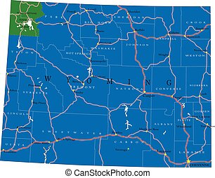 Wyoming state political map - Detailed map of Wyoming state,...