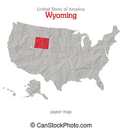 United States of America map and Wyoming state territory on textured paper