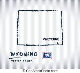 wyoming map, vector hand drawing, chalk illustration