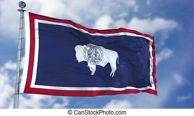 Wyoming Waving Flag - Wyoming (U.S. state) flag waving...