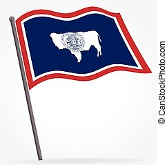wyoming wy state flag flying waving on flagpole vector