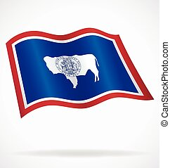 wyoming wy state flag flying waving vector