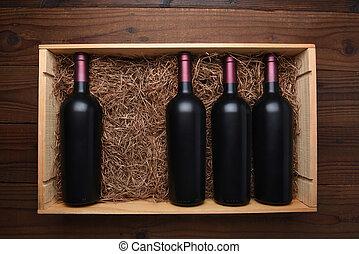wypadek, butelki, brakujący, jeden, drewno, czerwone wino