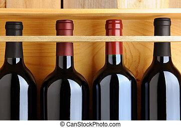 wypadek, butelki, drewniany, closeup, czerwone wino