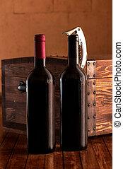 wypadek, drewniany, butelki, wino