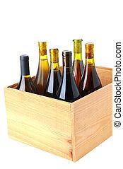 wypadek, drewno, butelki, wino, chardonnay