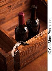 wypadek, drewno, butelki, wino