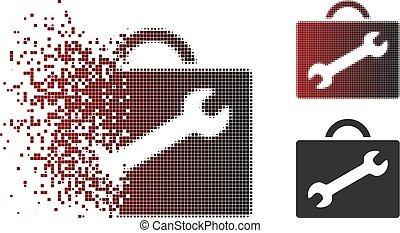 wypadek, naprawa, halftone, wyposażenie, znikając, pixel, ikona