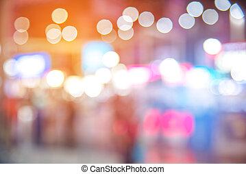 wypadek, zamazany, tone., styl życia, handlowy błękitny, pokaz, lekki, abstrakcyjny, tło., konwencja, święto, motor, ludzie, theme., concept., pomarańcza