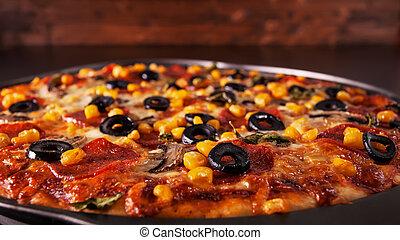 wypiek, -, closeup, świeżo, upieczony, rondel, pizza