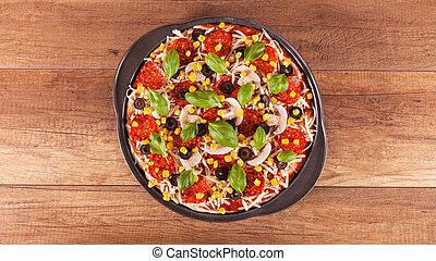 wypiek, górny, -, gotowy, pizza, prospekt