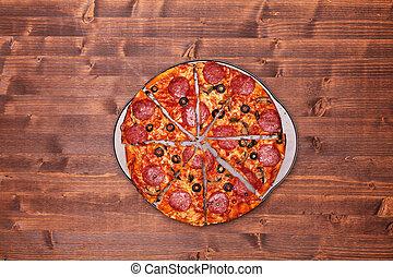 wypiek, górny, -, pokrojony, pizza, rondel, prospekt