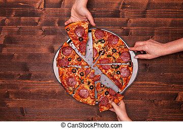 wypiek, kromki, wpływy, siła robocza, od, rondel, pizza