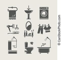 wyposażenie, łazienka, komplet, ikona