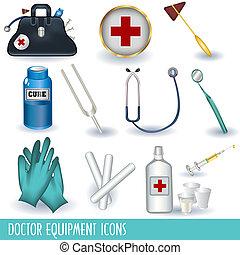wyposażenie, doktor, ikony