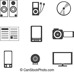 wyposażenie, elektronika, ikony, palcowe media