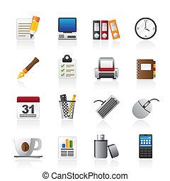 wyposażenie, handlowe biuro, ikony