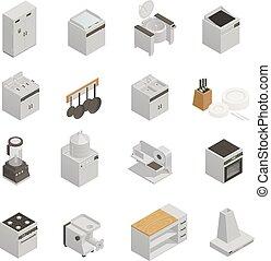 wyposażenie, isometric, komplet, kuchnia, ikony