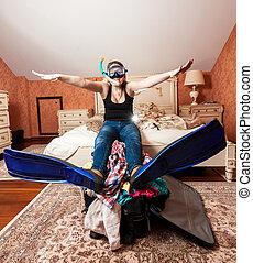 wyposażenie, kobieta, snorkeling, łóżko, posiedzenie