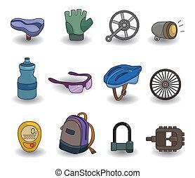 wyposażenie, komplet, rower, rysunek, ikona