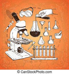 wyposażenie, laboratorium, doodle
