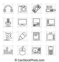 wyposażenie, media, ikony