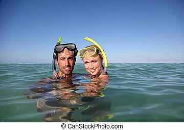 wyposażenie, para, snorkeling
