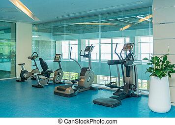 wyposażenie, sala gimnastyczna, nowoczesny, różny, lekkoatletyka