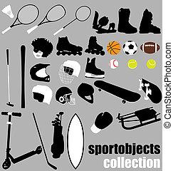 wyposażenie, sport, komplet