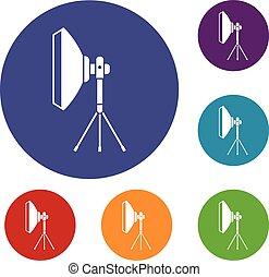 wyposażenie, studio, komplet, oświetlenie, ikony