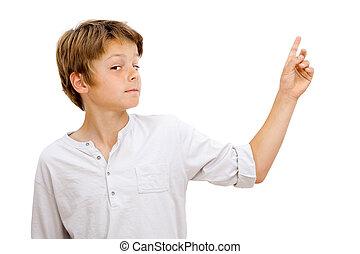 wyrażenie, pointing., chłopiec, twarz, zabawny