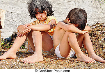 wyrażenie, ubóstwo, poorness, dzieci