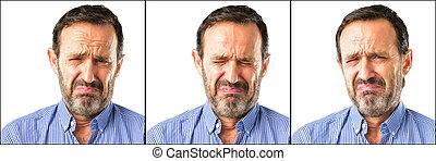 wyrażenie, wiek, przewrócić, nieszczęśliwy, smutny, środek, closeup, człowiek, przystojny