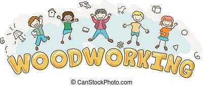 wyrabianie z drewna, stickman, ilustracja, dzieciaki