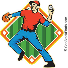 wyrzucanie, gracz, piłka, dzban, baseball