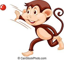 wyrzucanie, mały, piłka, małpa, czerwony