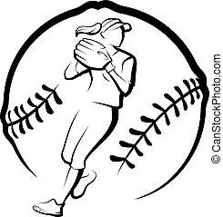 wyrzucanie, stylizowany, piłka, softball gracz