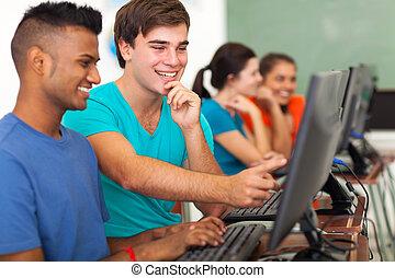 wysoka szkoła student, porcja, komputer, kolega szkolny, ...